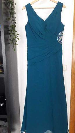 Vestido Cerimonia azul petróleo
