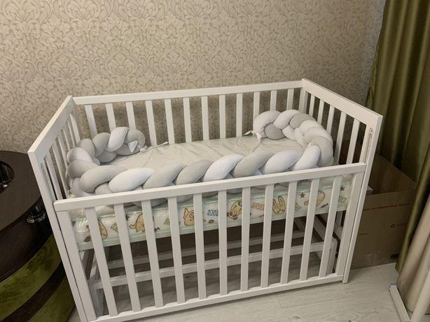 Дитяче ліжко кровать  + матрас + мягкий бортик Нове