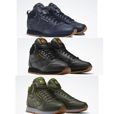 Мужские зимние Кроссовки Ботинки Reebok Classic Leather Mid Ripple