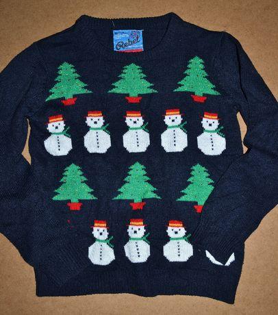 638^ Świąteczny sweter bałwanki 11/12L_152 cm