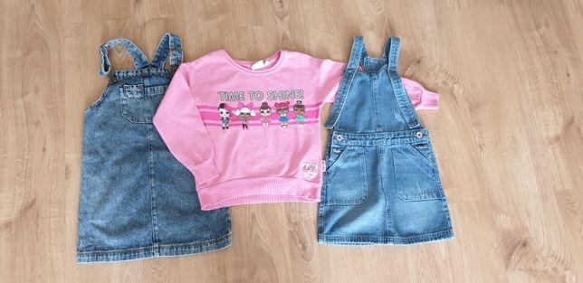 Bluza LOL +Sukienki ogrodniczki 116
