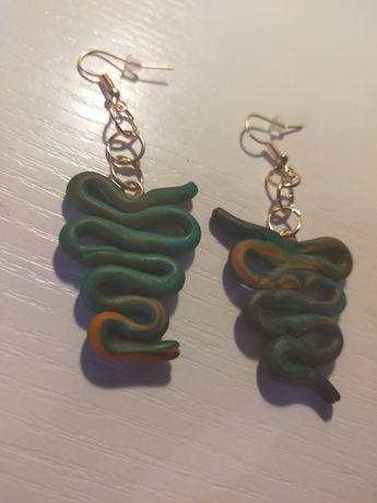 Zielone kolczyki z modeliny
