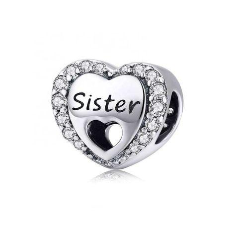 Charms Serce Sister Siostra do Pandora srebro 925 AN0059 Ponad 100 wz