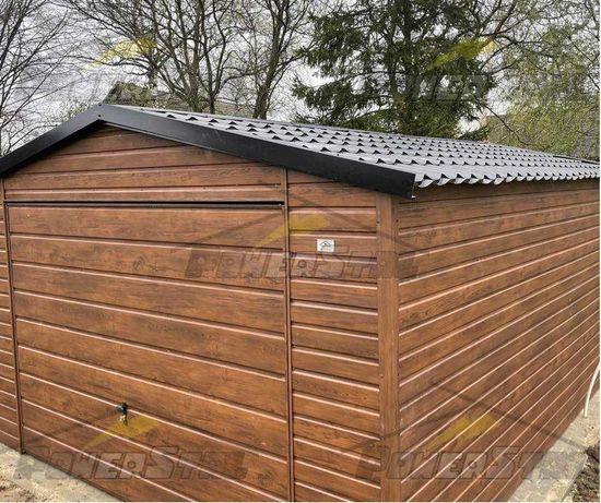 Garaż blaszany drewnopodobny Garaż z profila imitacja drewna