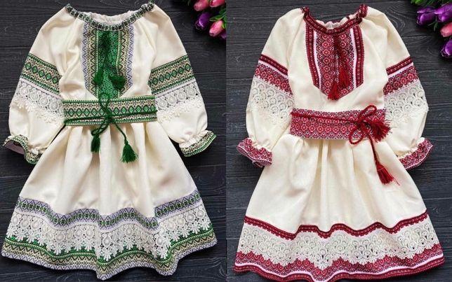 Очень красивое детское платье с вышивкой и кружевом, Детская вышиванка