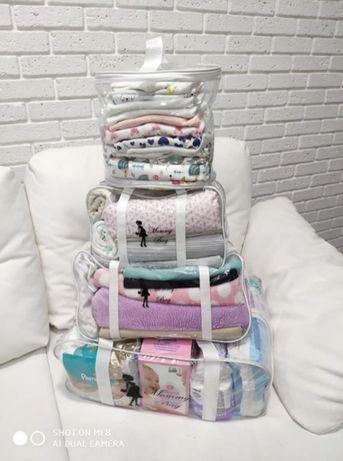 Набор 4 прозрачные сумки в роддом Mommy Bag 7 цветов