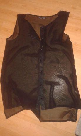 Czarna koszula mgiełka bez rękawów M