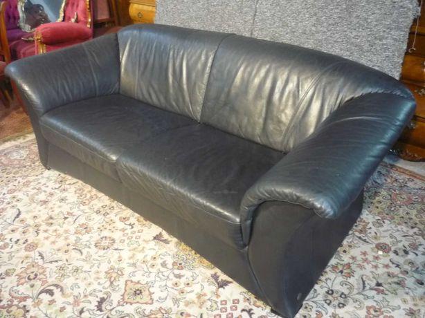 Sofa z Czarnej Skóry 3 Osobowa z Niemiec