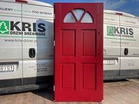 Drzwi zewnętrzne drewniane ocieplane angielskie czerwone 3004