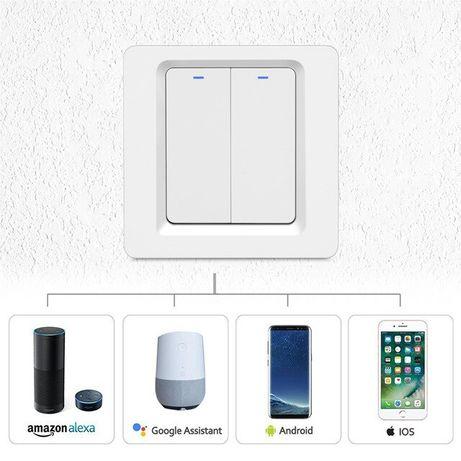 Nowy. Włącznik światła LED podwójny WIFI - sterowanie głosem, smartfon