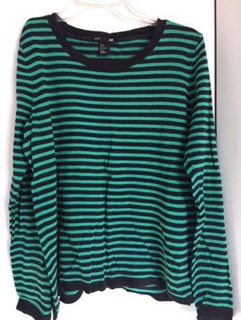 Zielona czarna bluzka w paski długi rękaw H&M rozmiar M basic