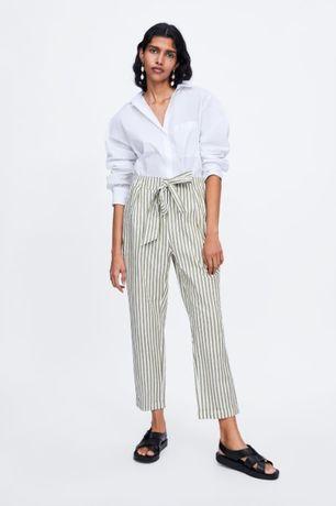 Spodnie w Paski Zara Bawełniane Nowe z Metką XS S