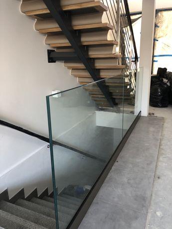 Szklana balustrada szerokość 2 x 175 cm wys. 110 cm