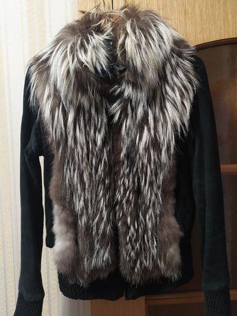 Куртка трансформер ( безрукавка) натуральная замша, чернобурки