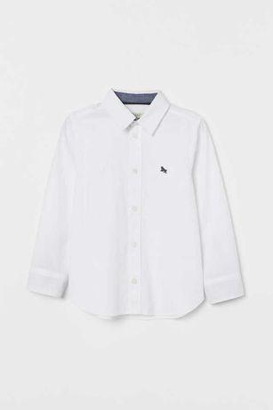 Biała koszula chłopięca 134 H&M sran b.dobry