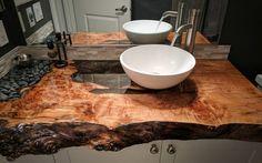 Blat łazienkowy 120 cm z litego drewna