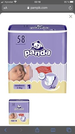 Подгузники Panda newborn 1 (2-5 кг) 58 шт. От 10 упаковок цена 240грн.