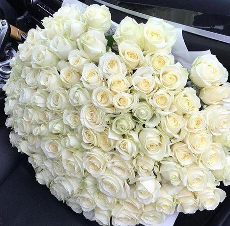 Букеты из 101 белой розы! Цветы! Розы! Доставка цветов по городу.