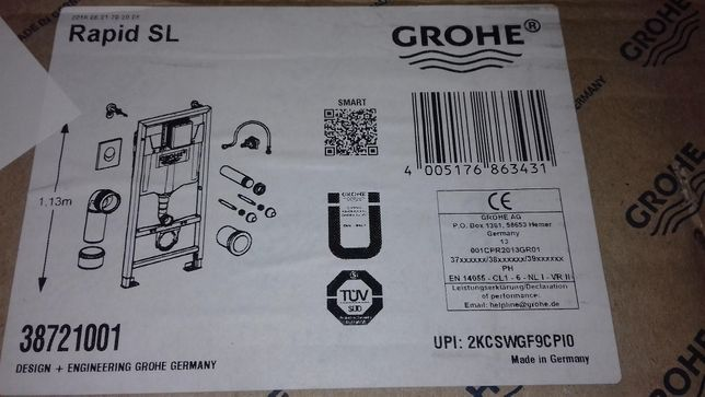 Инсталляция Grohe Rapid SL для подвесного унитаза комплект 4 в 1