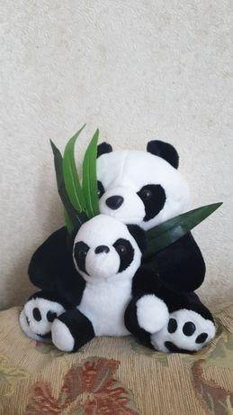 Мягкая игрушка - Плюшевая панда, мама и малыш