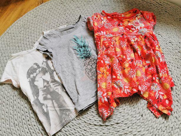 Tshirt tunika 98 piękne bluzki zestaw dziewczynka