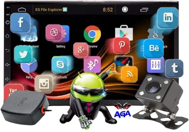 "Radio Samochodowe 7"" 2DIN MirrorLink + GPS + Ramka Android 9 WiFi"