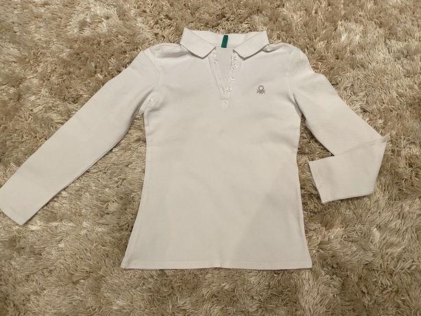 Белая рубашечка (поло)на девочку Benetton