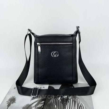 Мужская двухсторонняя кожаная сумка через плечо Gucci Гуччи чоловіча