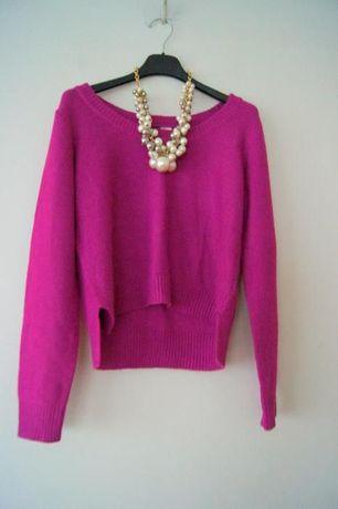 H&M sliwkowy fioletowy 3/4 cieply sweterek asymetryczny amarantowy M38