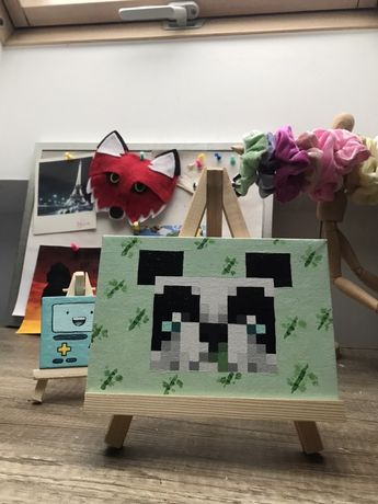 Ręcznie malowany obraz na płótnie panda minecraft handmade rękodzielo
