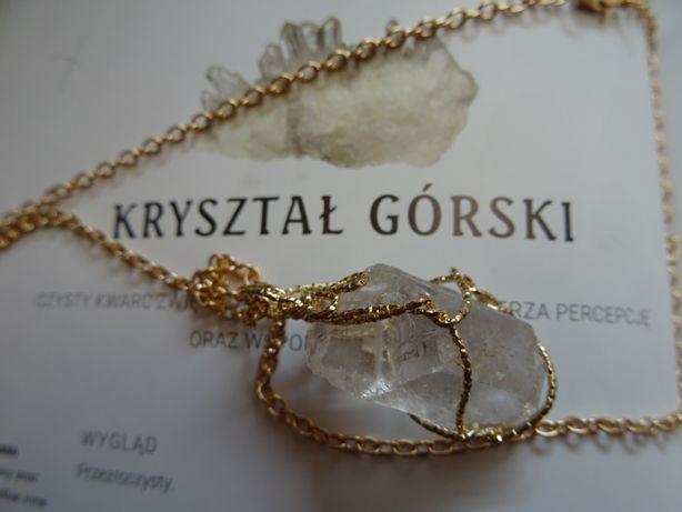 Pozłacany naszyjnik kamień naturalny surowy kryształ górski
