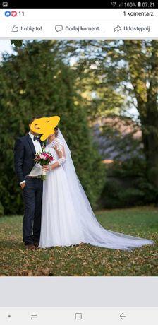 Suknia ślubna długi i krótki welon
