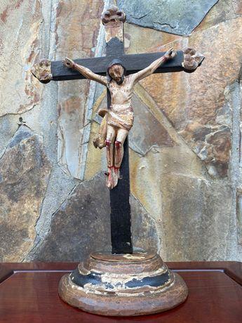 Crucifixo Cristo madeira séc XVIIl Português 40cm Arte Sacra Popular