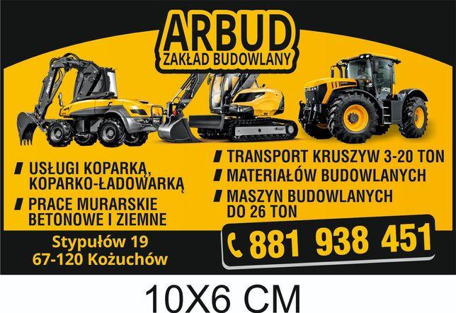 Usługi koparko ładowarką , transport 20 ton
