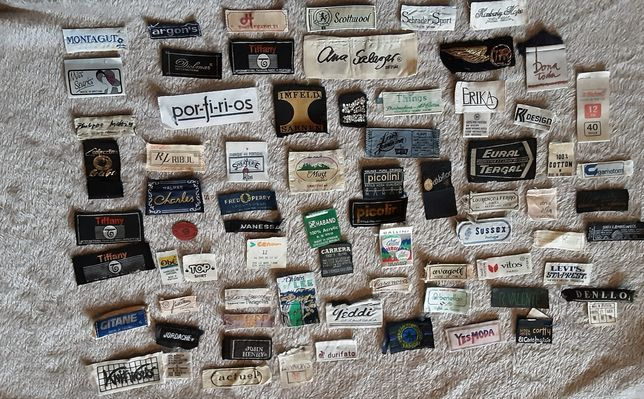 lote de etiquetas antigas marcas de roupa  portuguesas e estrangeiras