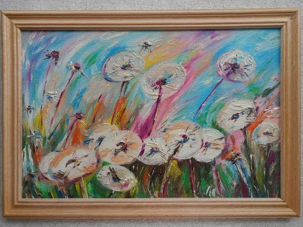 """Картина маслом """"Одуванчики абстракция"""", размер 20 х 30 см"""