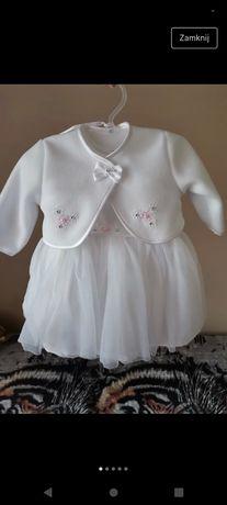Ubranko do chrztu dla dziewczynki 68 sukienka bolerko buciki czapeczka