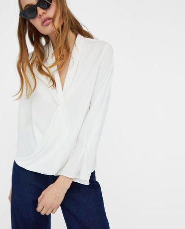 bluzka biała ZARA kopertowa elegancka st idealny L
