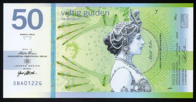 Банкнота Нидерланды, 50 гульденов, Мата Хари, 2020, частный выпуск