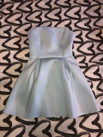 Sukienka bez ramiączek baby blue błękitna wesele studniówka półmetek