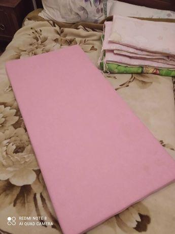 Матрасик ортопедический +бортик +одеялко+подушка для новорожденных