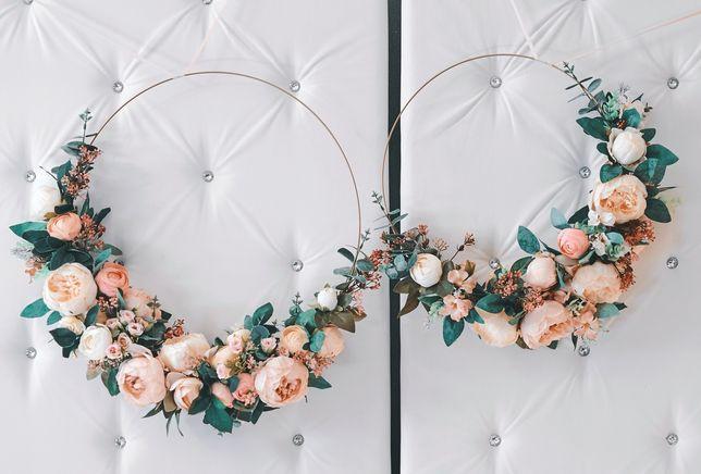 Duży wianek ślubny boho kwiaty wianki zestaw obręcz eukaliptus piwonia