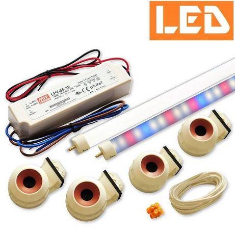 Zestaw LED T5 do akwarium - świetlówka LED roślinna+biała 6000K, z T8