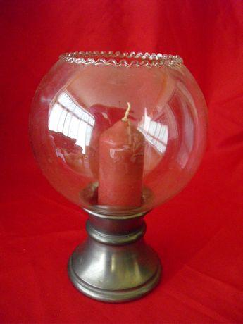 Castiçal em metal e vidro vintage