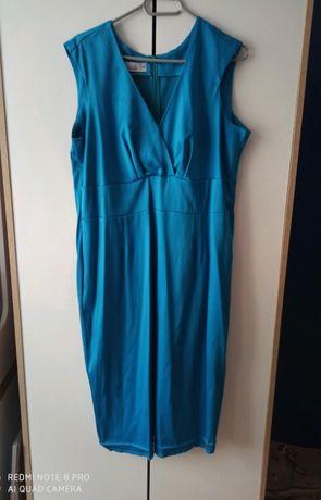 Turkusowa sukienka wesele elegancka rozmiar 46
