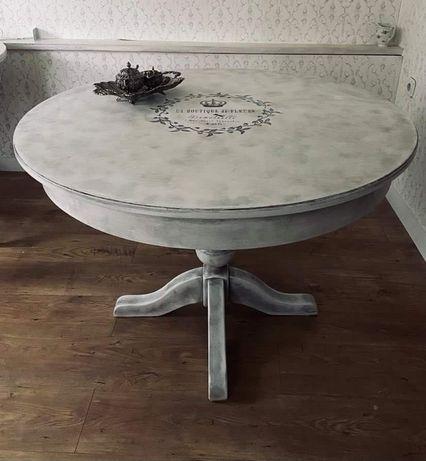 Stół okrągły prowansalski, shabby chic, stylowy, szary