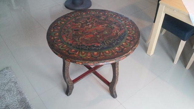 Stół orientalny z Nepalu drewniany ręcznie malowany motyw smoka UNIKAT