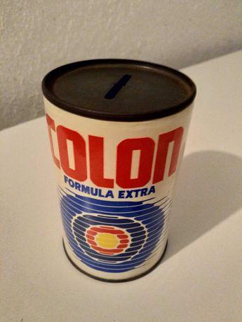 Lata mealheiro antiga de coleção marca COLON