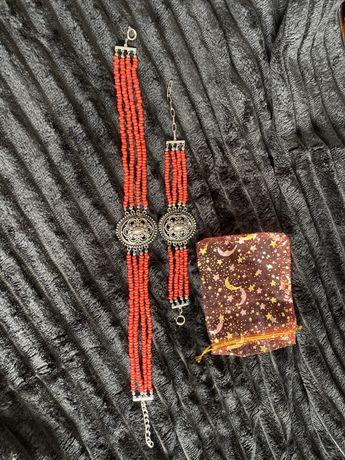 Biżuteria komplet kolia obręcz na szyje naszyjnik bransoleta etui