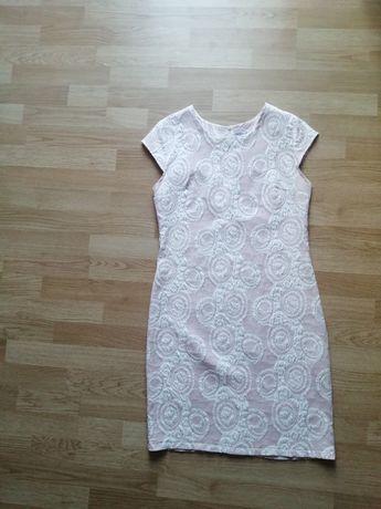 Sukienka rożowa biała w kółka na wesele ślub komunie przyjęcie 42 XL